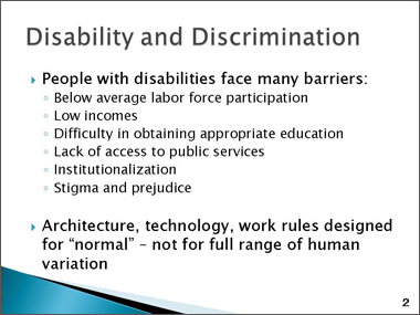 Vocational barriers and obstacles for adults with disabilities